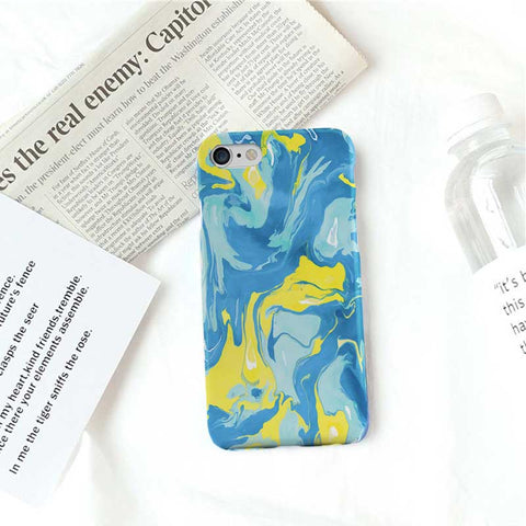 Blue and Yellow Abstract Marble Phone Case