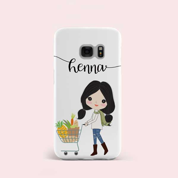 shopping girl design personalised phone case cover abstract london