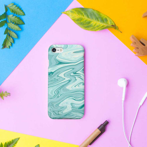 Turquoise Water Color Marble Phone Case
