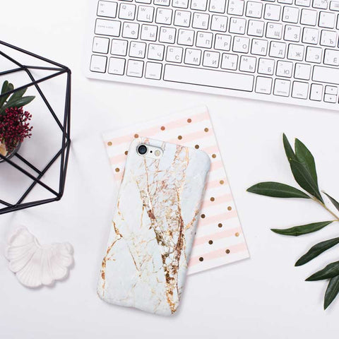 White Gold Marble Design Phone Case