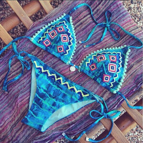 Beautiful Print Design Retro Swimsuit Bikini