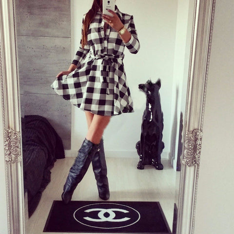 Beautiful Casual Plaid Long Sleeve Mini Dress