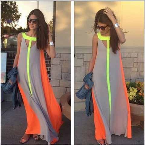 Cool Neon Summer Long Beach Dress
