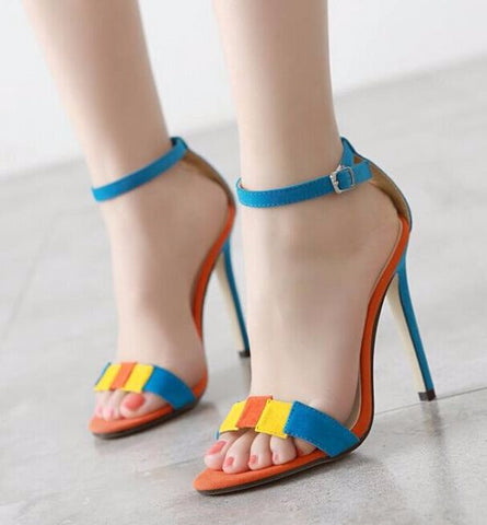 Cute Ankle Strap Sandal Style Multicolor Heels