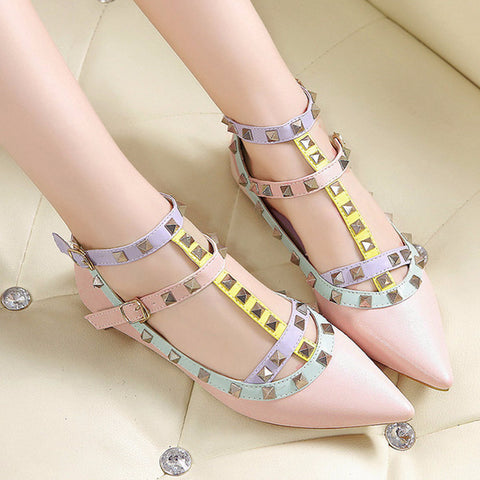 Cute Multicolor Rivet T-Strap Beautiful Flats