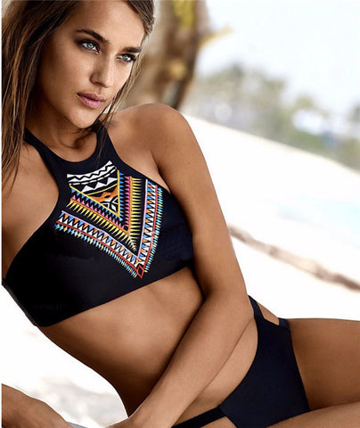 Trendy Halter Tank Design Swimsuit Bikini