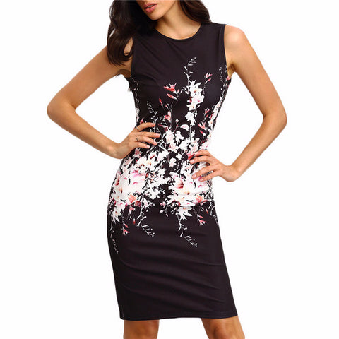 Lovely Floral Print Black Summer Dress