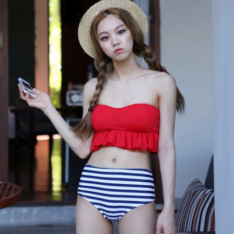 Lovely Ruffle High Waist Stripe Swimsuit Bikini