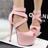 Modern Cross Strap Peep Toe Pump High Heels