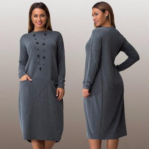 Modern Long Sleeve Loose Plus Size Casual Dress