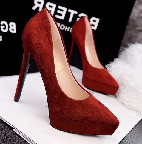 Classy Point Toe Platform Stiletto High Heels