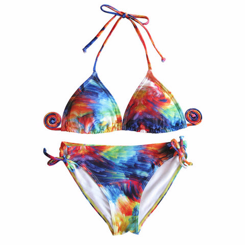 Stylish Rainbow Print Colorful Swimsuit Bikini