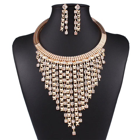 Trendy Rhinestone Earring Necklace Jewelry Set