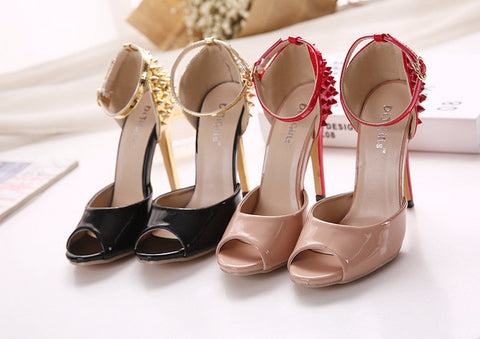 Trendy Roman Rivet Peep Toe Ankle Strap High Heels