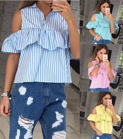 Beautiful Loose Ruffle Casual Summer Top