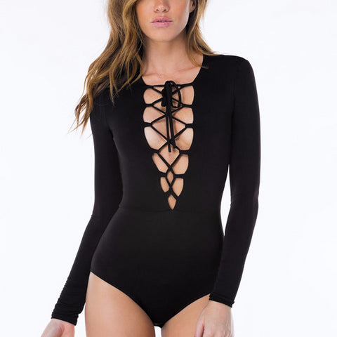 Sexy Deep V Lace Up Romper