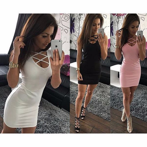 Sexy String Neck Slim Hip Mini Dress