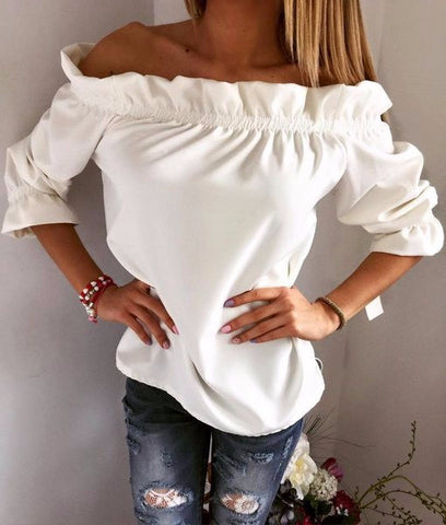 Charming Over Shoulder Ruffle Cute Shirt
