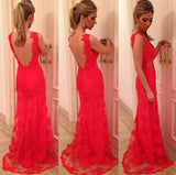 Stunning Lace Backless Deep-V Maxi Dress