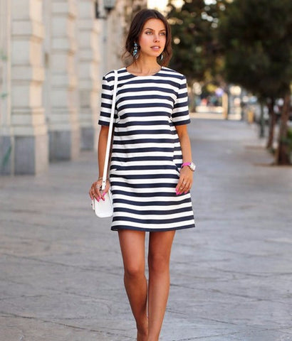 Stylish Casual Stripe Short Sleeve Mini Dress