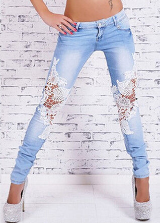 Stylish Floral Lace Trendy Womens Jeans