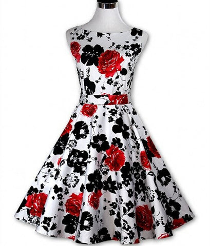 Womens Floral Party Vintage Cocktail Dress