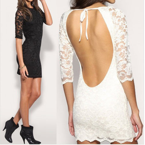 Womens Sexy Backless Lace Party Club Dress