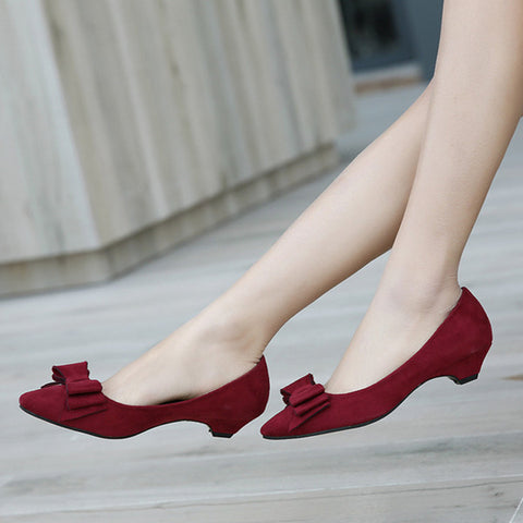 Womens Stylish Bow Low Heels
