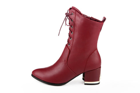 Womens Stylish High-Top Leather Boots