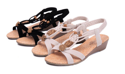 Lovely Knit Open Toe Ankle Strap Sandals