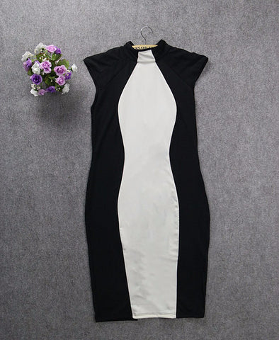 Trendy Black And White Plus Size Casual Dress