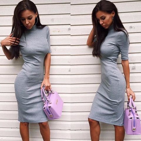 Urban Short Sleeve Slim Hip Casual Dress