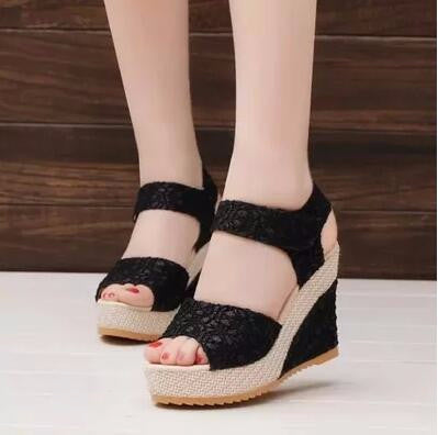 Trendy Lace Open Toe Platform Wedges