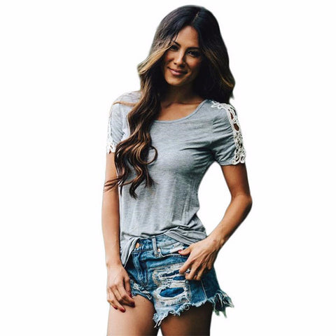 Trendy Lace Splice Short Sleeve Shirt