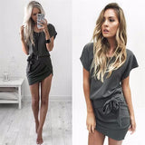 Trendy Layered Grey Short Sleeve Stylish Dress