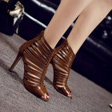 Trendy Roman Leather Peep Toe Dress Heels