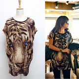 Trendy Tiger Print Long T-Shirt