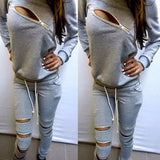 Trendy Zip Rip 2-Piece Stylish Sweatsuit