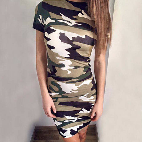 Urban Camo Sleeve Stylish Slim Dress
