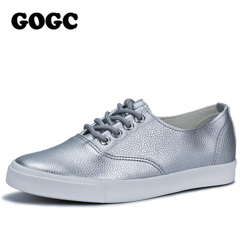 Womens Flat Breathable Sneakers Silver Black White Casual Shoes