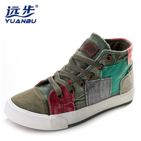 Womens High Top Patchwork Casual Lace Up Shoes