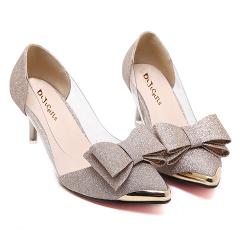 Womens Sexy Sequins Butterfly Knot Dress Low-heeled Pointed Toe Dress Shoes