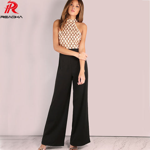 Womens Casual Rompers Jumpsuit Summer Gold Sequins Patchwork Boot Cut Full Length Sexy Sleeveless Halter Bodysuit