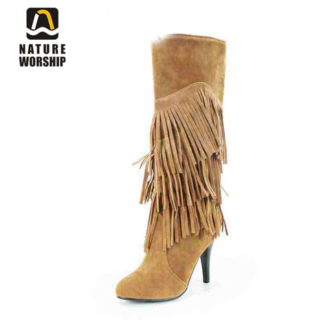 Womens  Over Knee High Cut Tassel Fringe Solid Stylish Sexy Boots