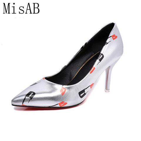 Womens Pumps Sexy Red High Heels Lip-Stick Pointed Toe Shoes
