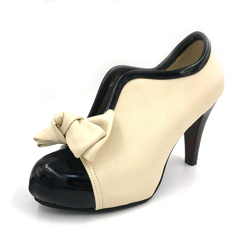 Womens Cute Classy Ribbon High Heel Dress Shoes