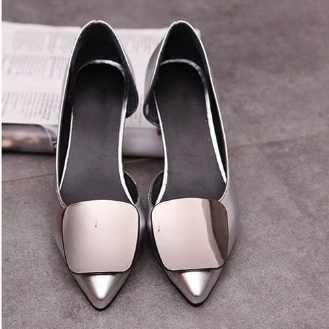 Womens Sexy Stylish Point Toe Low Office Casual Work Heels