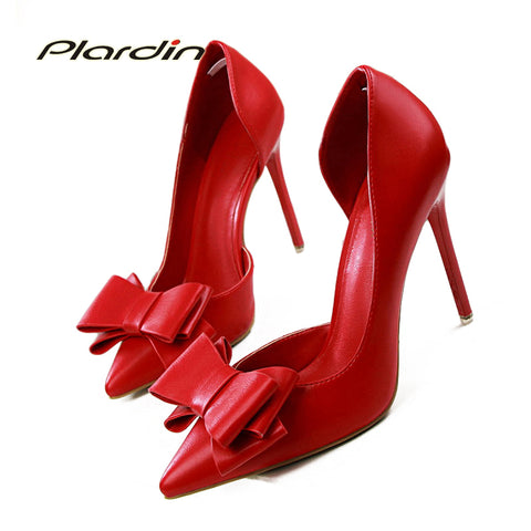 ee01179165c Womens Fashion Sweet Bowtie Pointed Toe Sexy Party Shallow Mouth Side Hollow  Thin High Heel Shoes