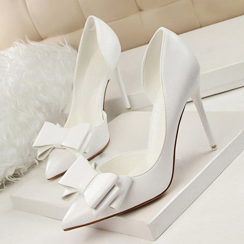 Womens Fashion Sweet Bowtie Pointed Toe Sexy Party Shallow Mouth Side Hollow Thin High Heel Shoes