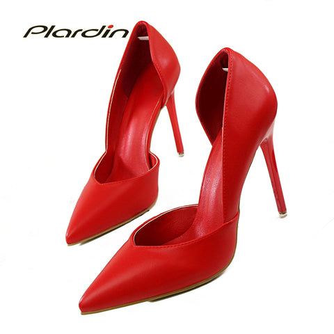 Womens Sweet Party Wedding Shallow Mouth Cut Out High Heel Pumps